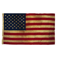 USA Vintage Tea Stained Boxed American Flag - 50 Stars 3' By 5'