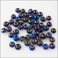 150 New Charms Shiny Blue Loose Faceted Round Flat Glass Crystal Spacer Bead 4mm