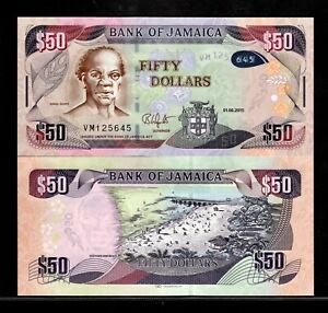Jamaica 50 Dollars Banknote 2015 P-94b UNC Currency ***FREE SHIPPING***
