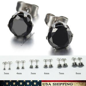Men's / Women's Stainless Steel Round Stud Earrings Crown CZ Black 3mm-8mm