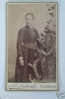 Antique Swedish Cabinet Card: Woman Next to Pigeon Photo, Tidaholm Sweden
