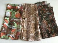 LOT 3 fashion scarves silky long brown roses paisley polyester