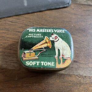 Vintage Gramophone Needle Tin His Master's Voice  Soft Tone Nadeldose HMV12