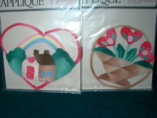 PAIR NEW Sew /Iron On LARGE QUILTED Patchwork INSTANT APPLIQUES Heart & Tulips