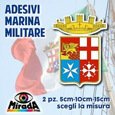 Adesivo Sticker LOGO BANDIERA MARINA MILITARE ITALIANA FLAG ITALIA  2 PEZZI NEW