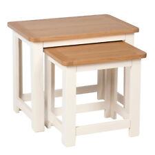 Millbrook Cream Painted Nest Of Tables / Oak Living Room Nested / Solid Hardwood