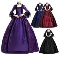 Womens Victorian Renaissance Medieval Maxi Dress Halloween Gothic Witch Costumes