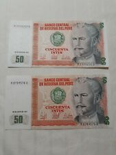 2 PC. ☆ 1987 PERU'S BANKNOTES: UNCIRCULATED