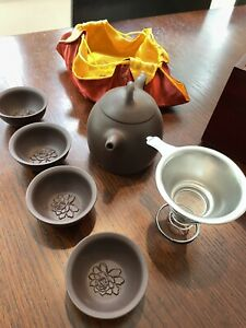 Chinese Yixing Zisha clay tea set with teapot, 4 cups, strainer, silk cover, box