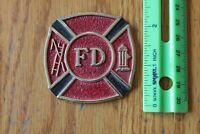 Fire Department FD pewter Firefighter piece Shield for a plaque or award Vintage