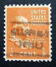 Sc # 803 ~ 1/2 cent Ben Franklin Issue, Precancel, SIDNEY OHIO