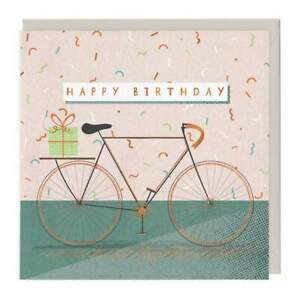 Happy Birthday Bike Gold Foil Eco Card Whistlefish- mix any cards for discount