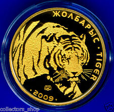 KAZAKHSTAN :Gold coin  500 tenge*Tiger 2009*Animals*Fauna*PROOF* PURE GOLD 999