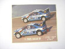 VECCHIO ADESIVO / Old Sticker RALLY PARIS DAKAR '89 PEUGEOT 405 TURBO (cm 13x11)