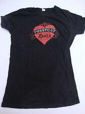 Pussycat Dolls Womens T-Shirt T Shirt Short Sleeve Black Red Heart Glitter Round