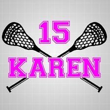 Lacrosse sticks girl name vinyl varsity decal,lacrosse varsity number sticker
