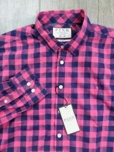 NEW Thomas PINK Casual Shirt MEDIUM Slim Fit Pink & Navy Check NWT