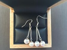 Elegant Natural Round Pearl 925 Silver Earing Double Drop New