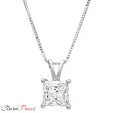 "2.15 Ct Simulated Princess Cut 14K White Gold Pendant Necklace + 16"" Chain VVS1"