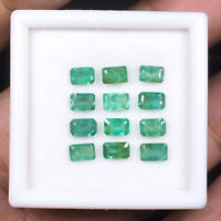12 Pcs Natural Colombian Emerald 5mm/3.5mm Emerald Cut Lusturous Gemstones Lot