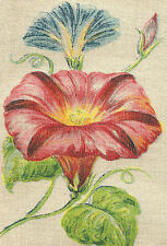 Vintage antique silk applique - use in crazy quilt block - Flower: Mrng Glory