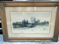 ANTIQUE 19TH C GW BOHDE ETCHING SIGNED IN PENCIL VG CONDITION USA