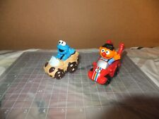 Lot of 2 Hasbro Sesame Workshop Racer Toy Cake Topper Cookie monster Ernie