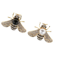 Statement Crystal Rhinestone Insect Bug Honey Bee Brooch Pin with Faux Pearl