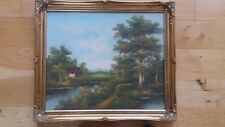 Original Signed Oil On Canvas Painting Country House Scene. Gold Ornate Frame