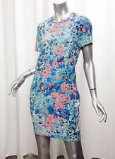 WHISTLES Womens Blue Multi Abstract Floral Short-Sleeve Shift Mini Dress 6