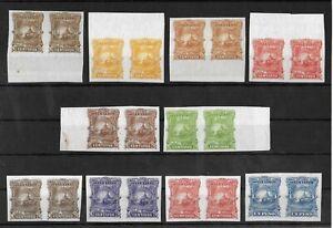 EL SALVADOR 1891 Unused No Gum IMPERF Set of 10 Pairs Color Proofs