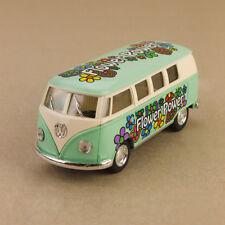 1962 VOLKSWAGEN VW Bus Flower Power Blue Hippy 1 32 13cm Diecast Pullback OLP