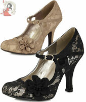 RUBY SHOO ELSY LACE dubai PARTY MARY JANE evening SHOES heels BLACK or GOLD