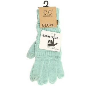 C.C Beanie G20 : Solid Cable Knit CC Gloves, Smart Tip, Mint