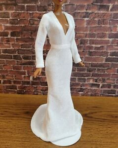 White doll dress glitter finish- Handmade Clothes for doll 11.5in-12in