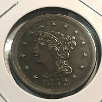 1852 UNITED STATES LARGE CENT BRAIDED HAIR HIGHER GRADE
