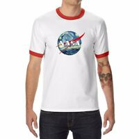 Space World Men white red Ringer Funny T-shirts Cotton Short Sleeve Summer Tee