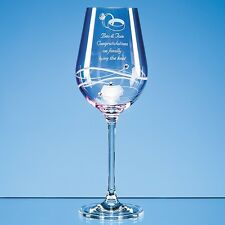 Personalised Engraved Diamante Pink Wine Glass 18th 21st 30th 40th 50th 60th