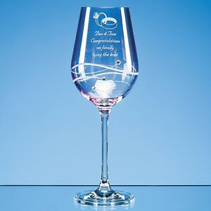 Personalised Engraved Diamante Crystal Pink Wine Glass  - Any Message or Name