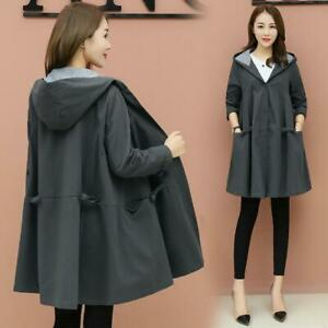 New Womens Hooded Long Sleeve Autumn Hip Long Trench Coat Fashion Jacket Outwear