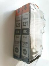 2 X CLI-521 Original Canon Black  Ink Cartridges - CLI-521BK for Pixma Series