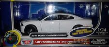 LIGHTS and SOUNDS 2011 Dodge Charger Diecast Car 1:24 Motormax 8 inch Plain WHT