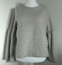 nwt MARKS & SPENCER TOP 18 OATMEAL SOFT WOOL FELTED FABRIC WIDE FLUTED SLEEVES