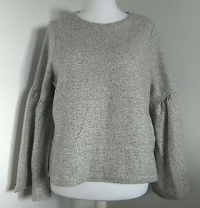 MARKS & SPENCER TOP UK 18 OATMEAL SOFT WAFFLE KNIT FABRIC WIDE FLUTED SLEEVES