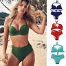 Women's High Waisted Bikini Set Halter 2pc Swimwear Push Up Bra Beach Swimsuit