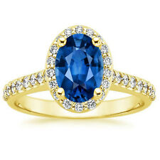 14K Yellow Gold Rings 1.95 Ct Real Diamond Blue Sapphire Wedding Ring Size L M N