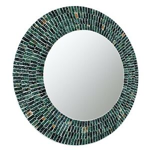 """Handcrafted Glass Mosaic Decorative 24""""  Round Wall Mirror, Green Teal Sea Blue"""