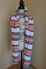 J. Crew Italian Wool Blend Scarf in classic plaid Orange Pink Ivory Gray E4930