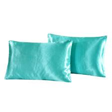 2Pcs Silk Pillowcase Cushion Covers King Pillow Case Cover 51x102cm Blue