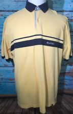 Vintage Tommy Hilfiger Mens Large Navy Blue Yellow Striped Short Sleeve Shirt Xl